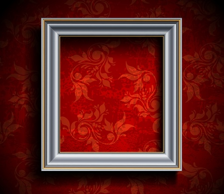grunge photo frame: Picture Frame on Wall Illustration