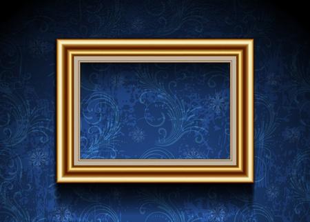 photo frame corner: Picture Frame on Grunge Wallpaper