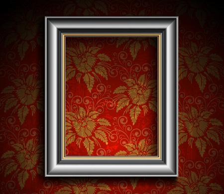 Silver Antique Frame on Grunge Wall Vector
