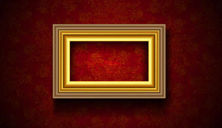 Vintage Picture Frame on Grunge Red Background Vector