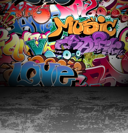 graffiti art: Graffiti wall urban background