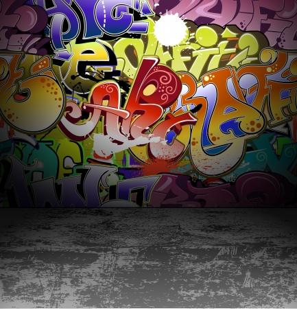 落書き: 落書きの壁都市の背景  イラスト・ベクター素材