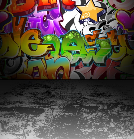 Graffiti wall urban background Vector