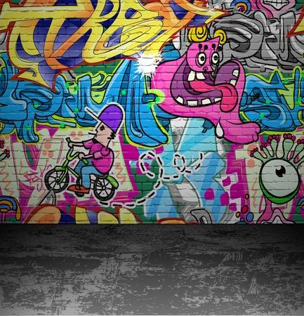 grafiti: Graffiti wall background, urban street grunge art vector design