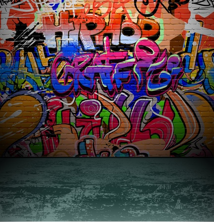 Graffiti Å›ciana w tle, ulica miejska grunge wektora projektowania sztuka