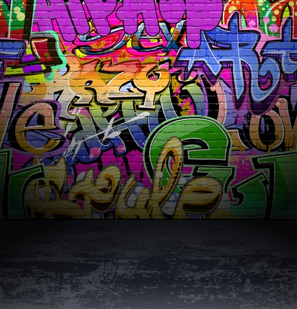 grafitti: Graffiti wall background, urban street grunge art vector design