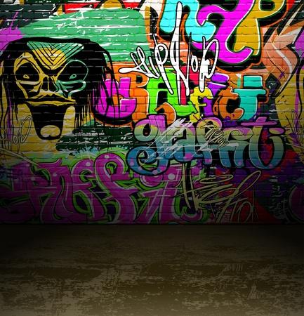 urban people: Graffiti wall background, urban street grunge art vector design