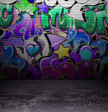 Graffiti wall background, urban street grunge art vector design Stock Vector - 12486240