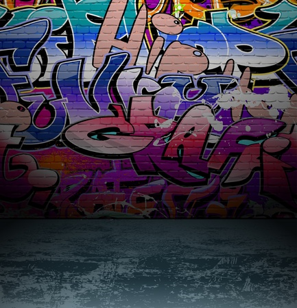 graphiti: Graffiti wall background, urban street grunge art vector design