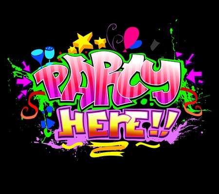 cartoon party: Party Here. Colorful vector invitation background