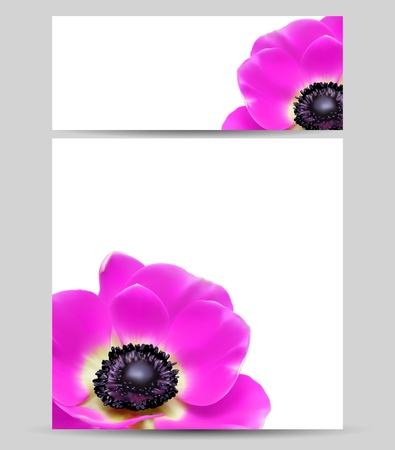 anemone flower: Card design template flower layouts