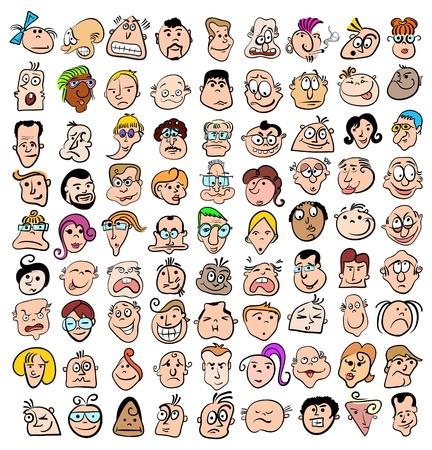 Las personas se enfrentan los iconos de la expresión del doodle de dibujos animados, arte feliz de personajes