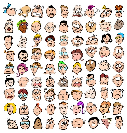 emo��es: People face expression doodle cartoon icons, happy characters art Ilustra��o