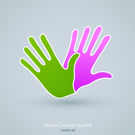 Colorful hands creative art design of abstract conceptual icon Ilustracja