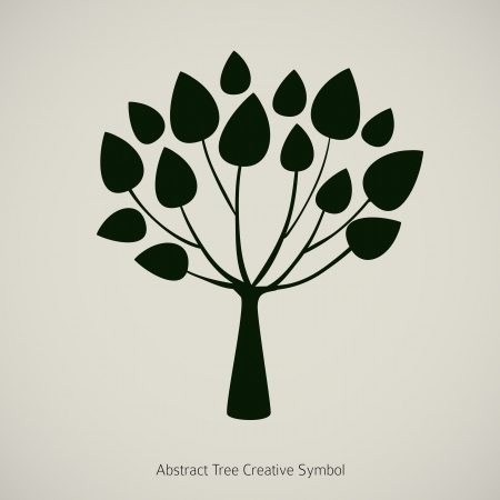 Tree plant illustration. Nature abstract design symbol Vector