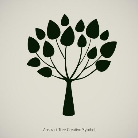 Tree plant illustration. Nature abstract design symbol Çizim