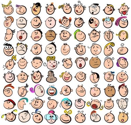 caricaturas de personas: Iconos de expresión Doodle Dibujos Vectores