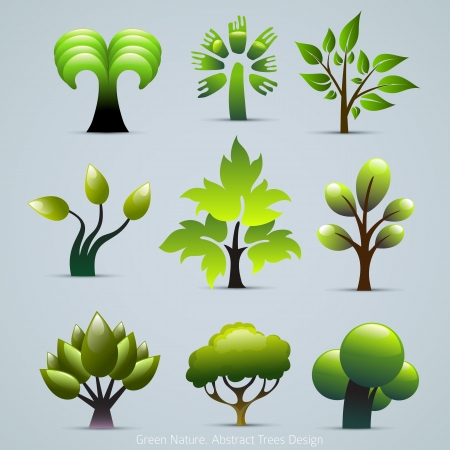 Green Tree Plants Illustration. Abstract Nature Icons Vector