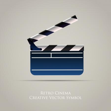 video camera icon: Cinema Film Clap Board Icon Illustration