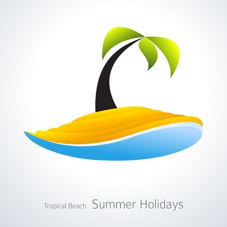 coconut water: Vacation Icon. Palm Tree Tropical Island Creative Icon