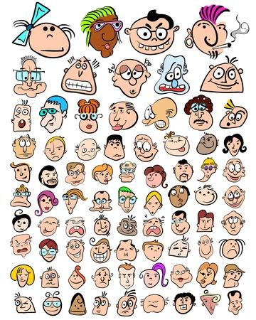 sentimientos y emociones: Personajes divertidos dibujos animados Doodle. Lindas expresiones de las personas iconos