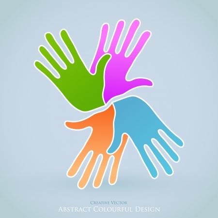 global communication: Creative People Hands Symbol. Together Concept Design