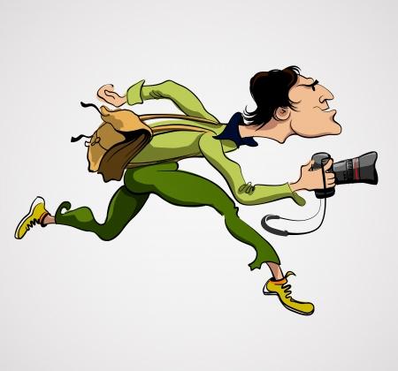 reporter: Personne photographe avec appareil photo. Reporter journaliste de voyage Illustration