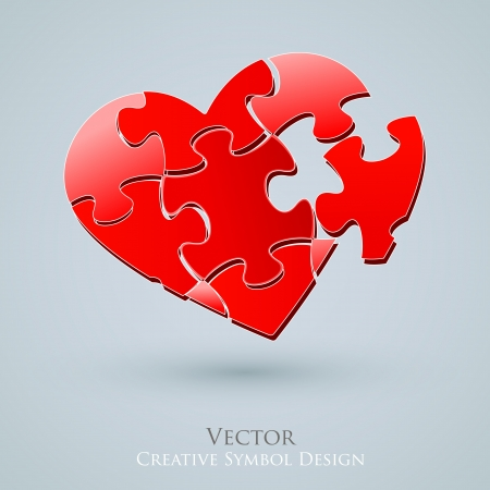 missing piece: Conceptual Heart Design. Creative Idea of Romantic Relationship Web Search. Love Icon