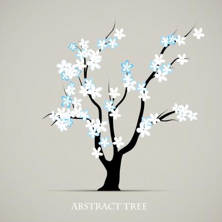 꽃이 만발한: 나무의 꽃 봄 아트 추상 공장 그래픽 배경 일러스트