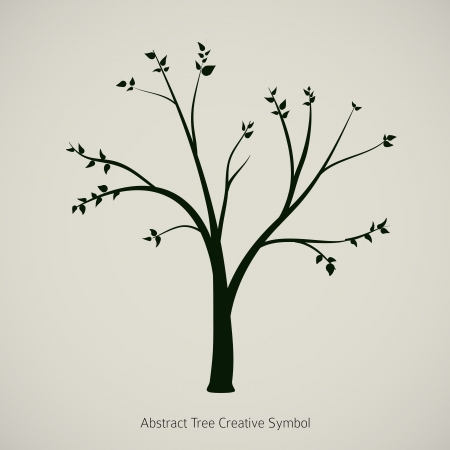tree outline: Tree plant illustration  Nature abstract design symbol