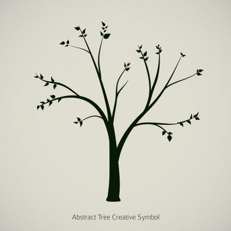 Tree plant illustration  Nature abstract design symbol