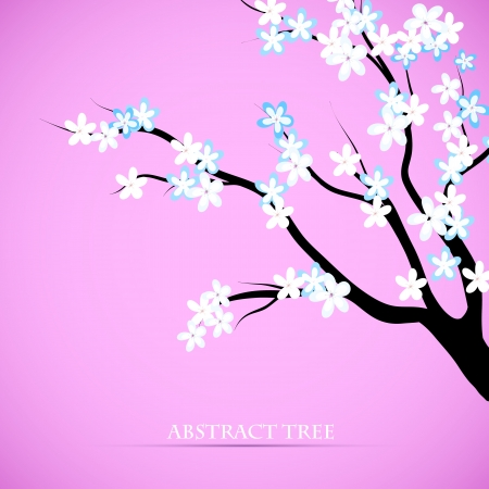 Cherry blossom decorative background  Abstract tree silhouette and flowers design  Card or cover template Vector