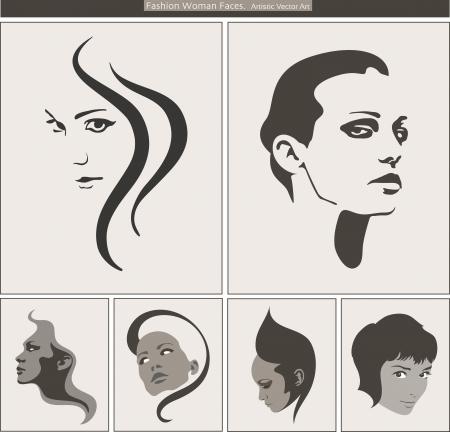 Volto di donna Silhouette Ritratto di bellezza profili Vettoriali