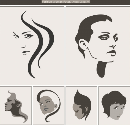 Woman Face Silhouette Portrait Beauty Profiles Vector