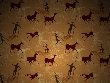 primitive art: Cave painting ancient art seamless background Illustration