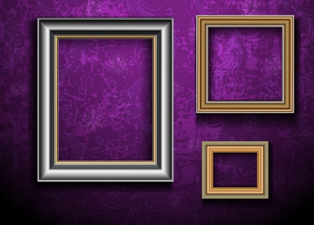 Picture Frame Wallpaper Background  Photo Frame on Grunge Wall Zdjęcie Seryjne - 14557654