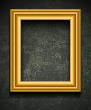 bilderrahmen gold: Picture Frame Wallpaper Hintergrund Photo Frame auf Grunge Wand