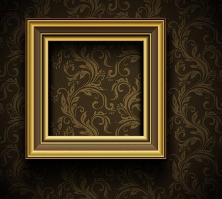 bilderrahmen gold: Bilderrahmen Wallpaper Hintergrund Photo Frame auf Grunge Wand Illustration