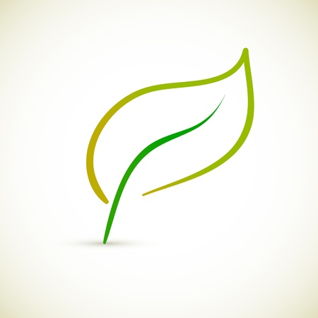 new beginning: Green Leaf Conceptual Icon Illustration