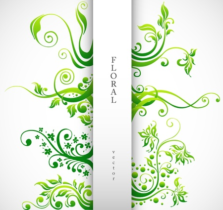scroll shape: Floral Ornament, Design Elements. Green Plants with Leafs and Decorative Elements Set.