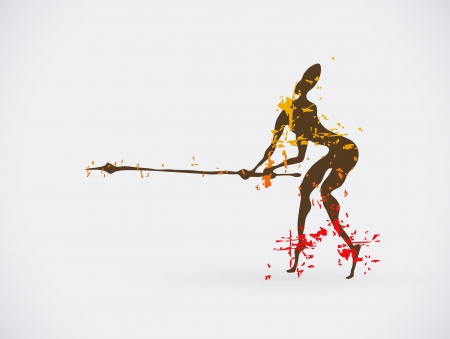 pintura rupestre: �frica Hunter tribales Ilustraci�n Vector. S�mbolo de la cultura creativa tradicional. Vectores
