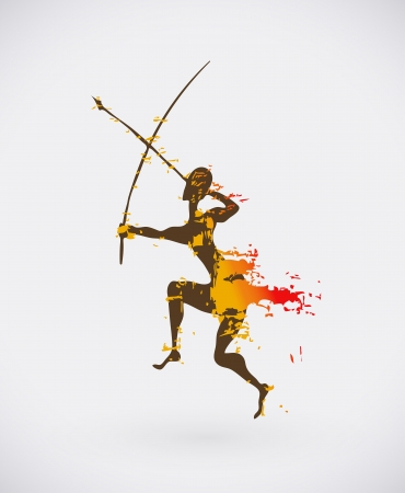 prehistoric: Colorful Illustration of Traditional Ritual Dance. Human Silhouette with Weapon Creative Design.