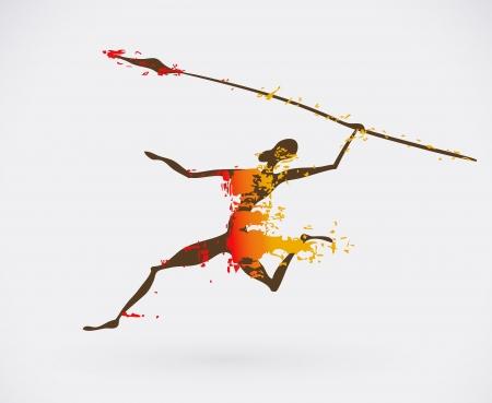danza africana: Ethnic Icona creativa, African Tribal illustrazione concettuale