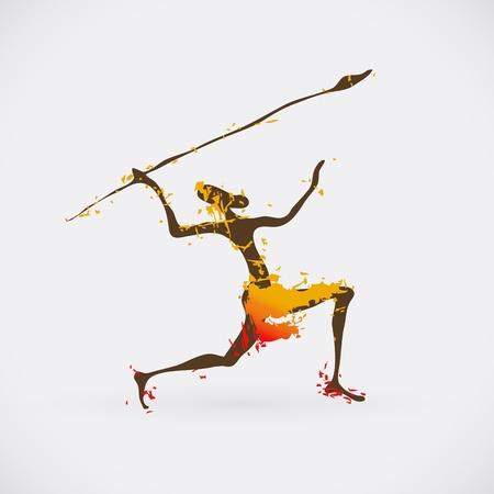 pintura rupestre: �frica Hunter tribales Ilustraci�n. S�mbolo de la cultura creativa tradicional.
