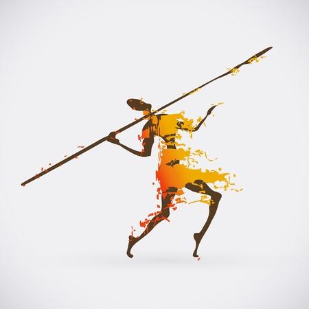 hombre prehistorico: Ilustraci�n colorido de la danza ritual tradicional. Silueta humana con el dise�o creativo de armas.