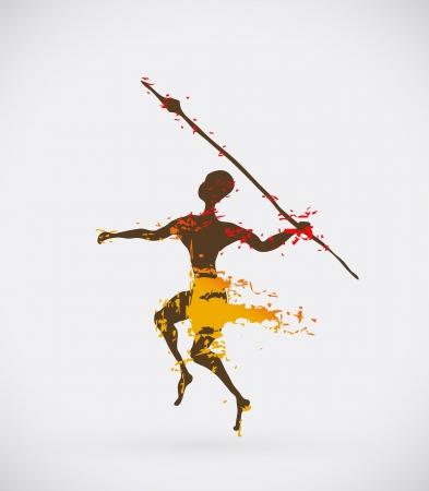 pintura rupestre: Icono étnica Vector Creativo, tribales Ilustración Conceptual de África Vectores