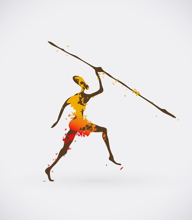 Colorful Illustration of Traditional Ritual Dance. Human Silhouette with Weapon Creative Design.