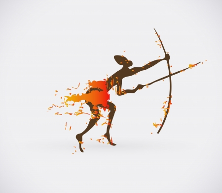 african tribe: African Hunter Tribal Illustration. Traditional Culture Creative Symbol.