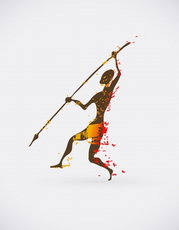 the tribe: Colorful Illustration of Traditional Ritual Dance. Human Silhouette with Weapon Creative Design.