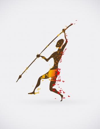 etnia: Ilustración colorido de la danza ritual tradicional. Silueta humana con el diseño creativo de armas.